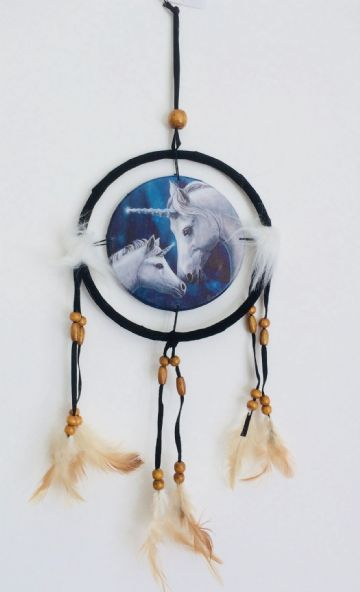 Printed DREAM CATCHER Small Diameter 9cm - Unicorn Sacred Heart (2 Unicorns)